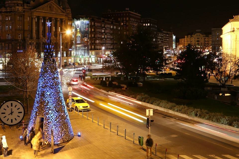 Charity Christmas Tree from Firewood at Erzsébet Square