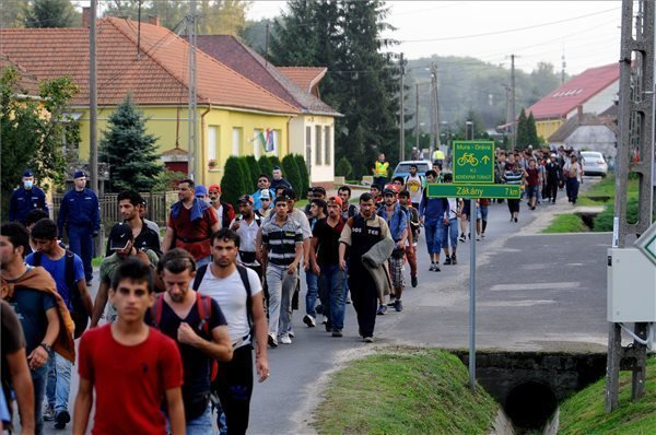 Large groups of migrants cross into Hungary