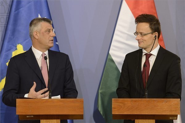 Hungarian foreign minister talks with his Kosovar counterpart in Budapest