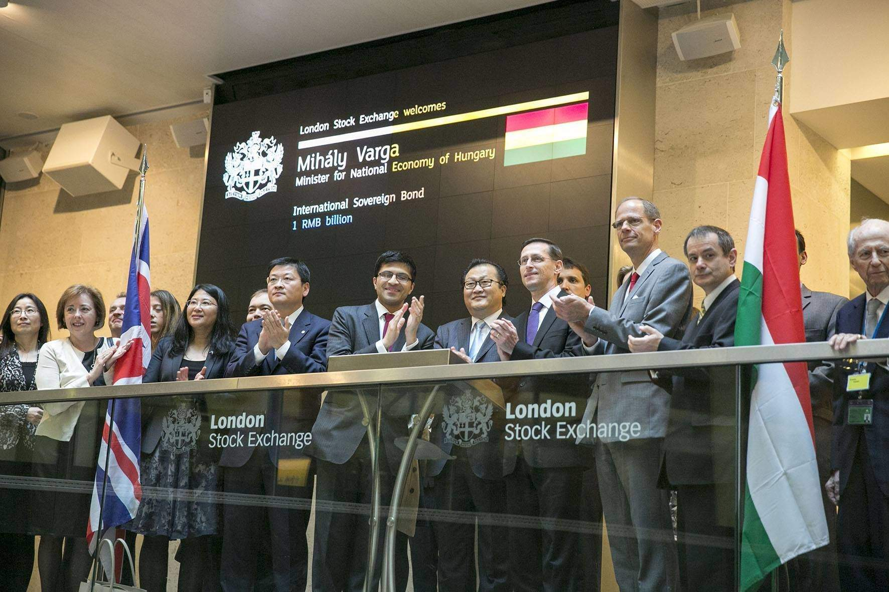 Hungarian economy minister opens London Stock Exchange to mark listing of yuan bond