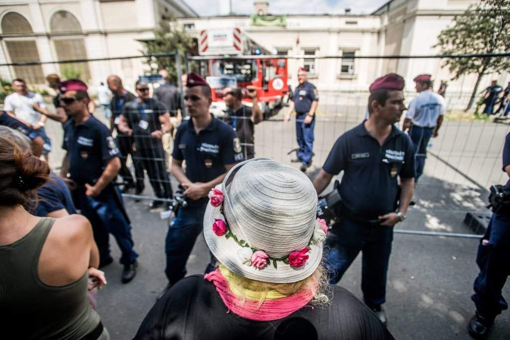 civil activists trying to block work under way in Budapest's City Park