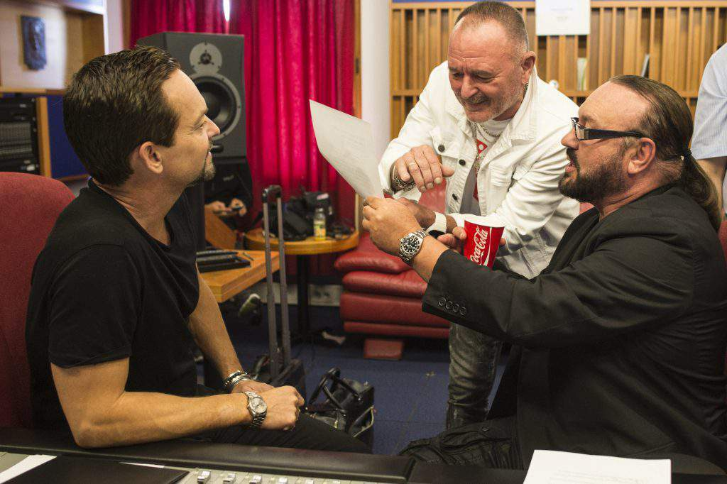 Andreas Carlsson, singer Feró Nagy, and Desmond Child in the recording studio