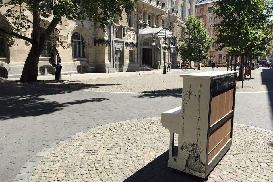 Lonely pianos in the city centre of Budapest