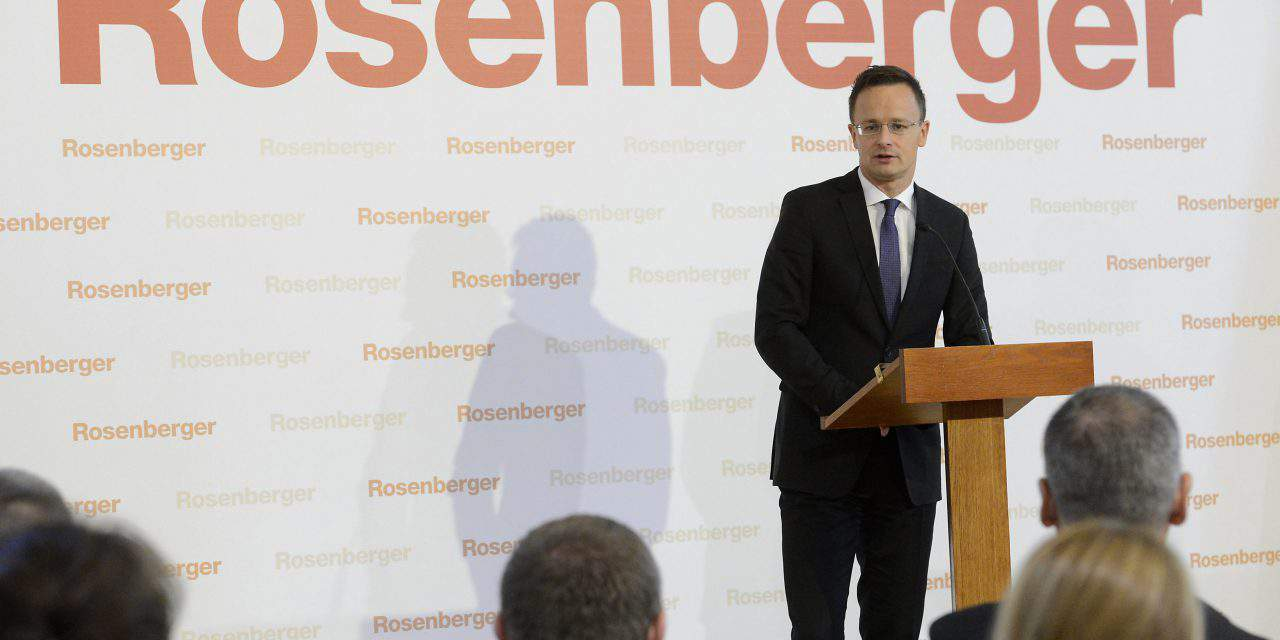 Szijjártó: Rosenberger investment to create 400 jobs in Hungary