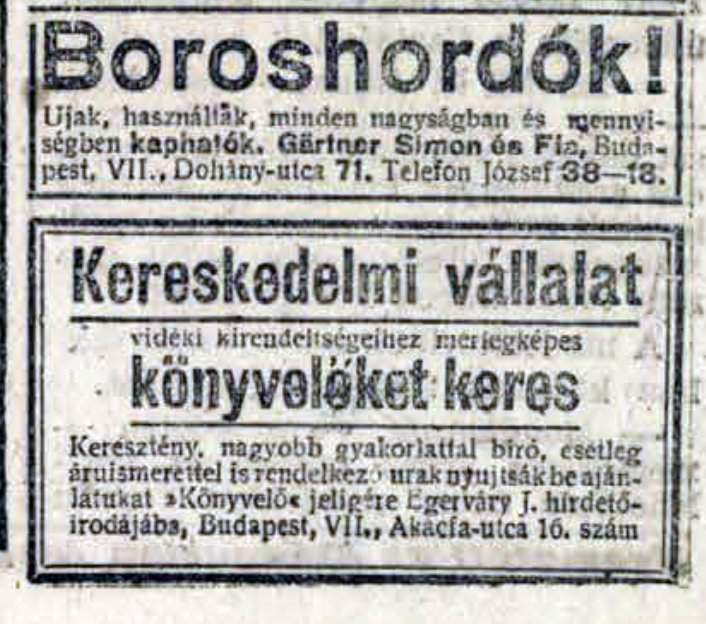 Runlet ad in 1920, from a Hungarian newspaper