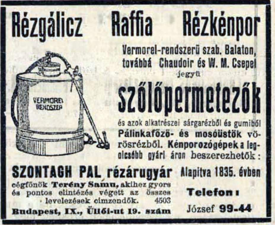 Ad about vineyard sprayer, Hungarian newspaper