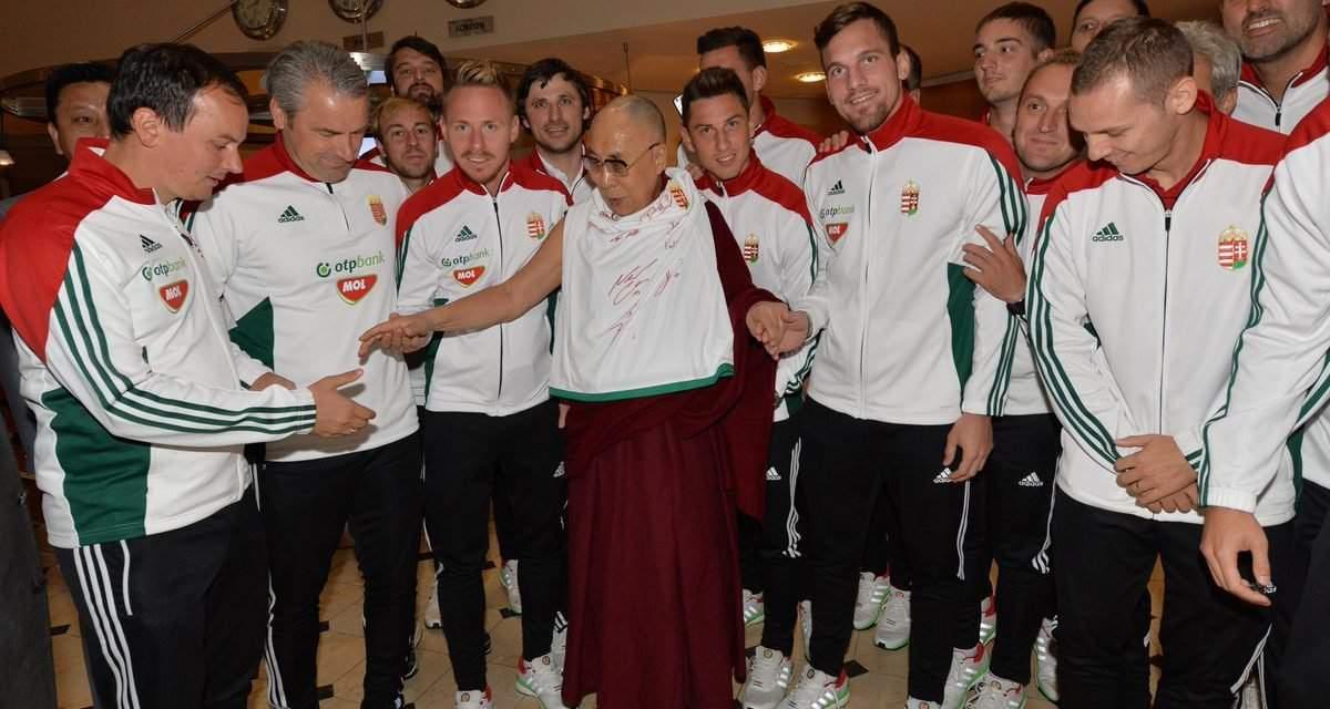 The National Football Team met the Dalai Lama and defeated Latvia