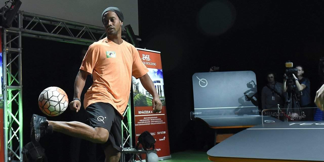 Football superstar Ronaldinho popularises teqball, a Hungarian invention