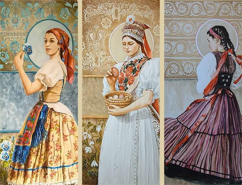 Watercolourist Ágota Markovics art project documenting Hungarian women's folk costumes across the Carpathian basin