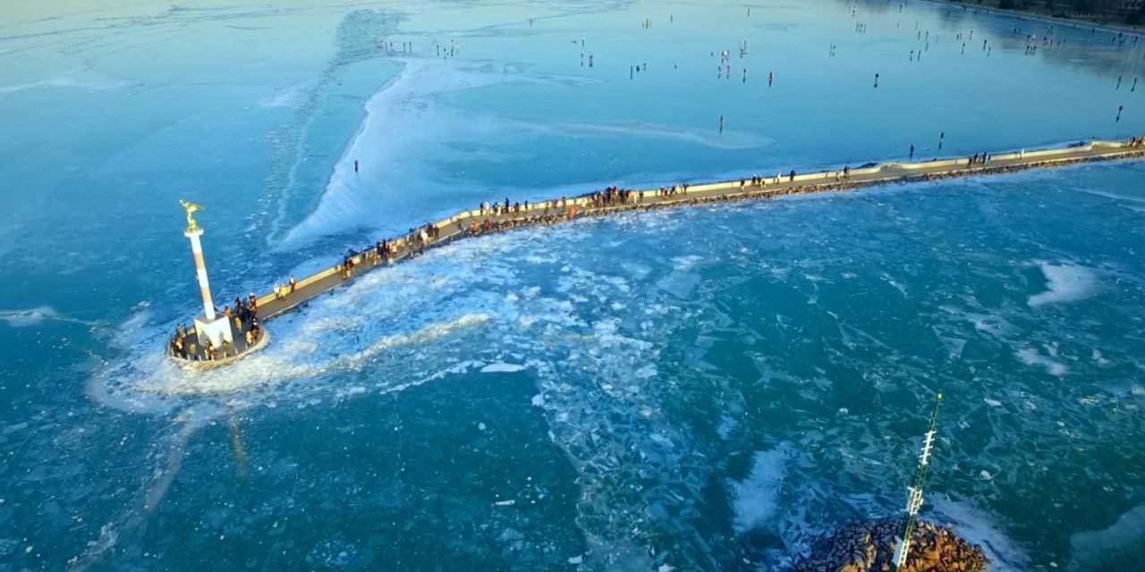 Breathtaking drone video of the frozen Lake Balaton