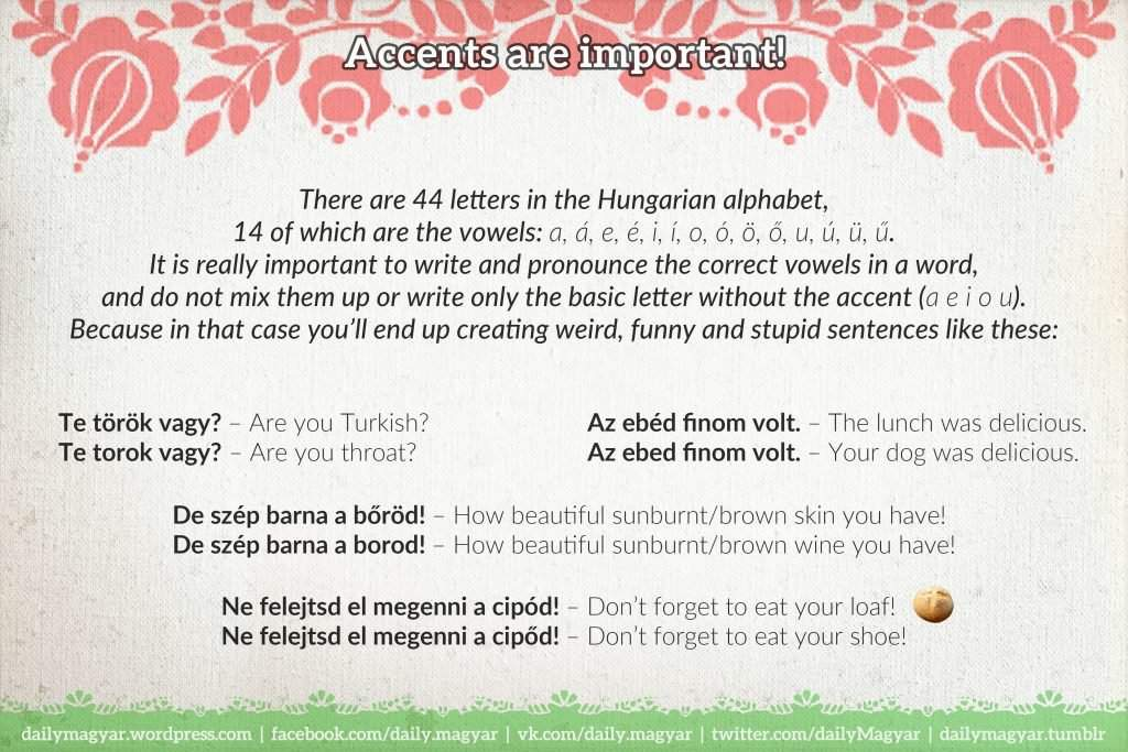 Mini language lesson 3 basic hungarian grammar daily news hungary fun fact the hungarian equivalent of vowel is magnhangz which literally means can make a sound alone while the equivalent of consonant is m4hsunfo