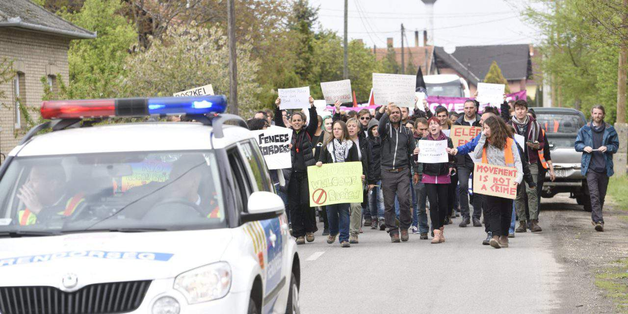Over 80 people held a protest in Röszke