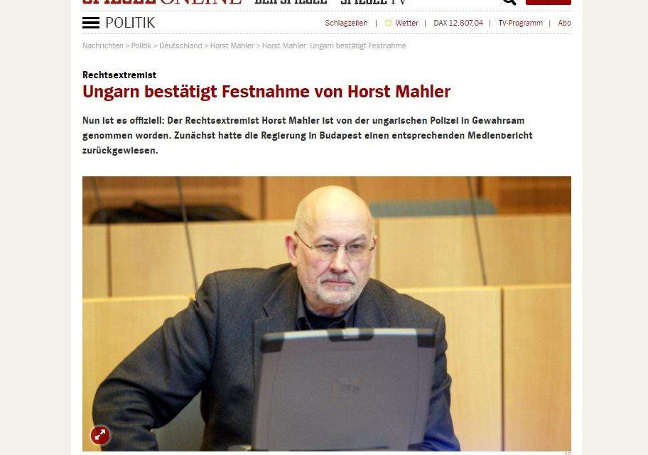 Hungary's police confirm arrest of German Holocaust denier