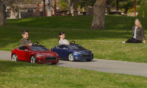 Children can give driving a go with mini-Teslas