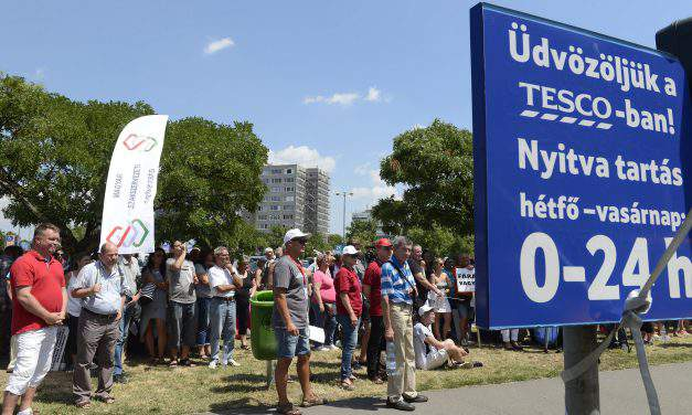 Tesco workers stage demo for higher wages in Hungary