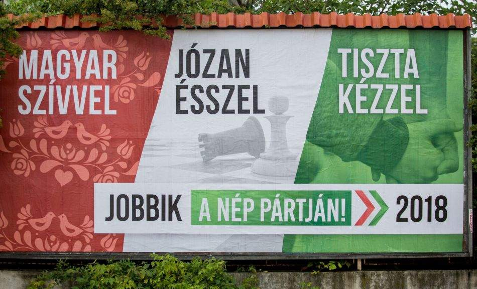 "Here is Jobbik's new outdoor media campaign: ""Hungarian heart, Common sense and clean hands"""