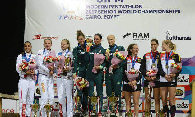 The Hungarian women's team triumphs at the World Modern Pentathlon Championships
