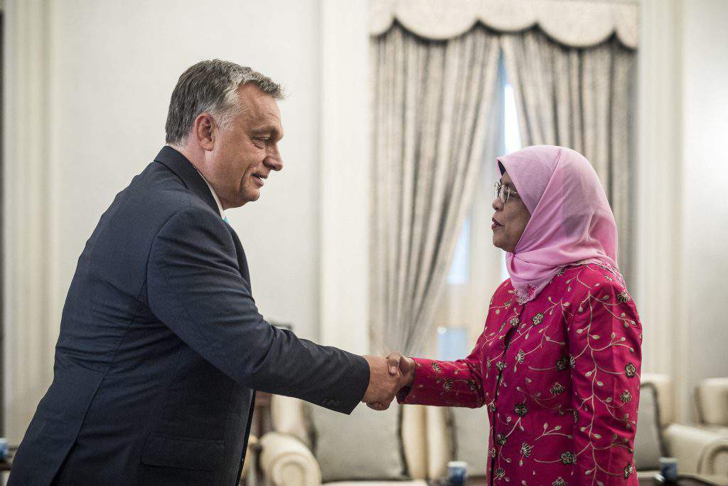 Orbán also met with Singaporean President Halimah Yacob
