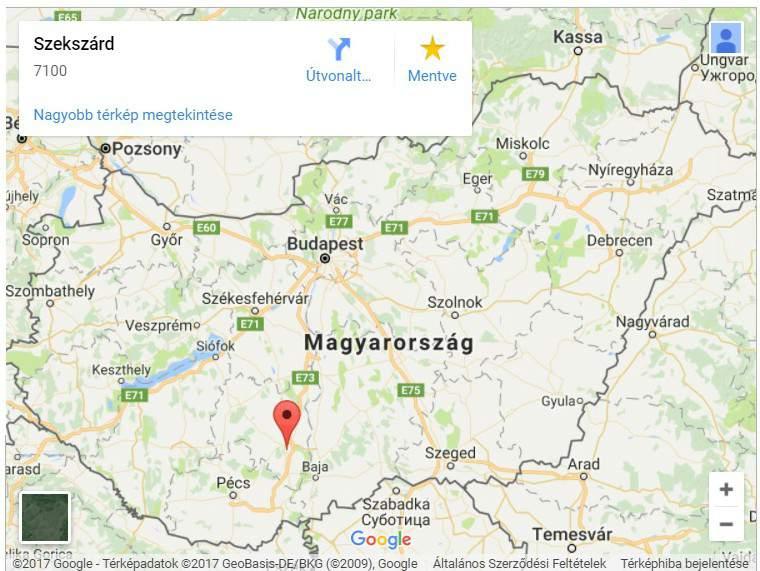 Szekszárd map Tolna county capital