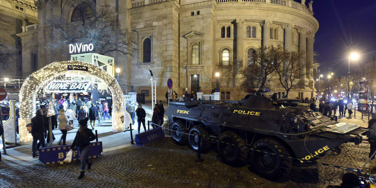 Counter Terrorism Center's armored vehicle sprayed red in Budapest