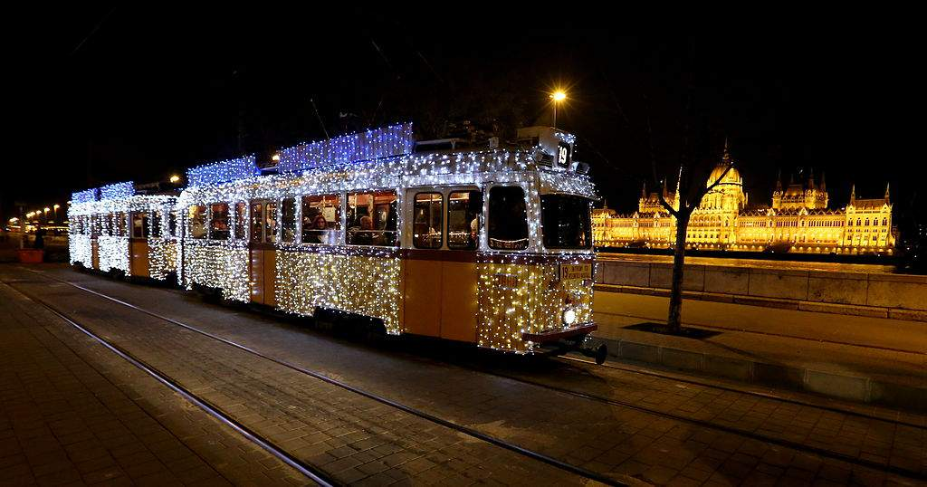 Take a Christmassy ride through Budapest on the iconic light tram