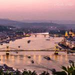 Budapest cityscape Chain Bridge panorama
