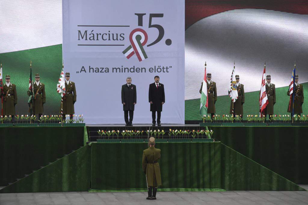 áder jános kövér lászló parliament march 15 flag