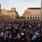 Disappointed with election results, demonstrators protest in Budapest, photo: MTI