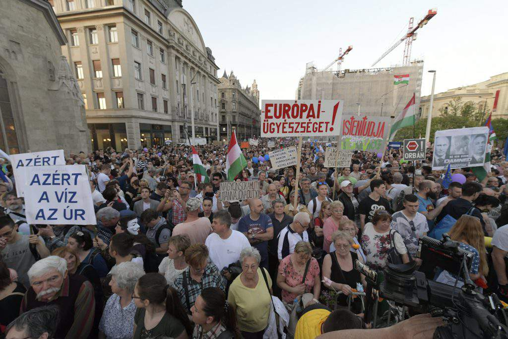 Demonstrators protest for democracy in Budapest