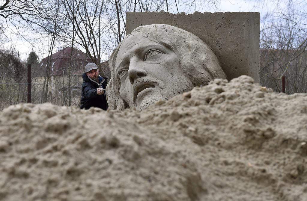 Jesus Christ Statue Made Of Sand by Ferenc Monostori