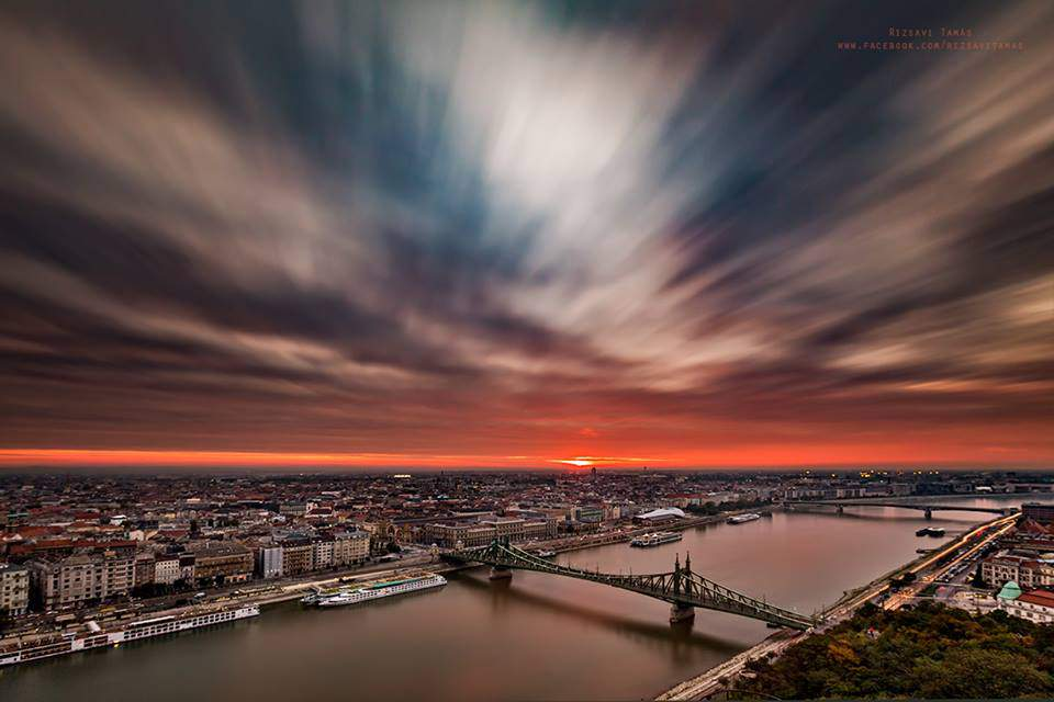 rizsavi2 liberty bridge budapest clouds photography sunset danube