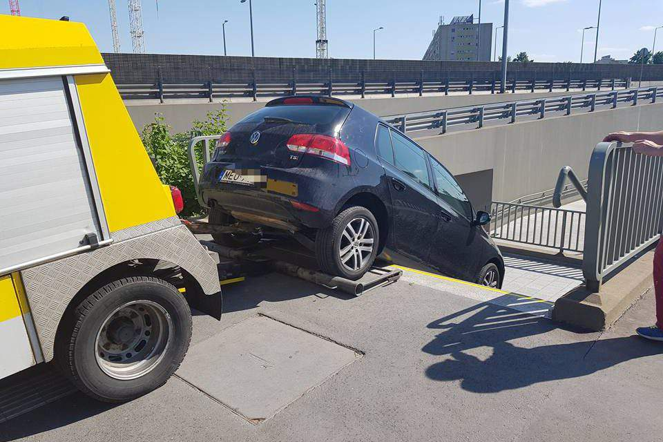 Curious accident: a woman driving into a pedestrian subway