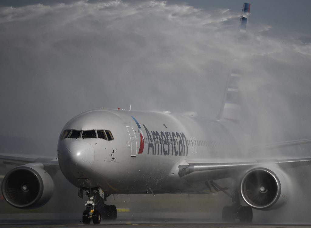 American Airlines flight from Philadelphia welcomed at Budapest Aiport