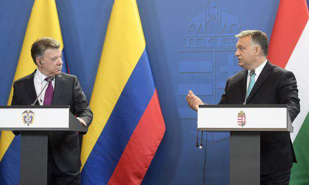 Colombia's President Juan Manuel Santos visits Hungary