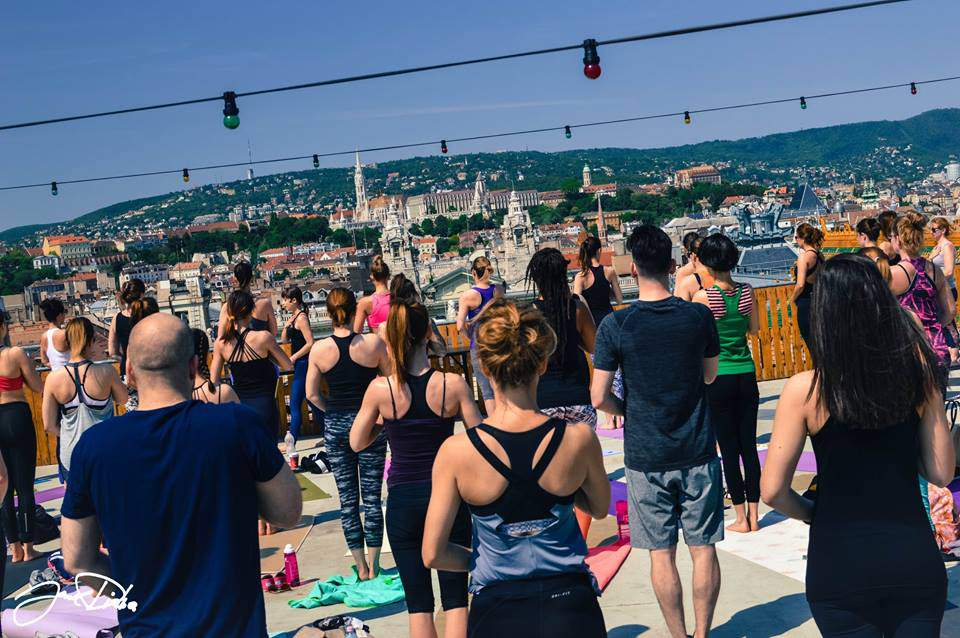 yoga, outdoors, rooftop