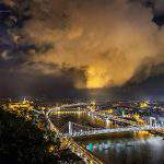 Budapest city storm view