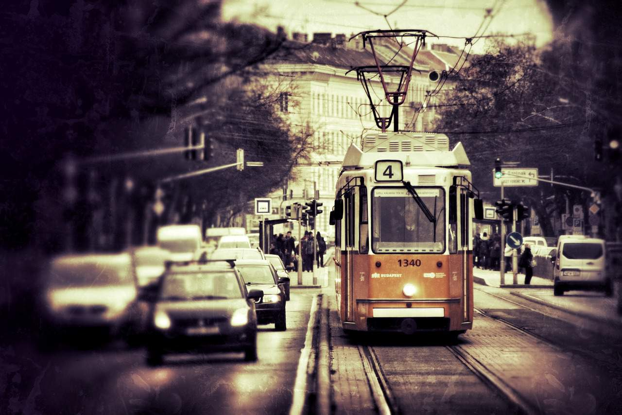 transport budapest traffic tram car street