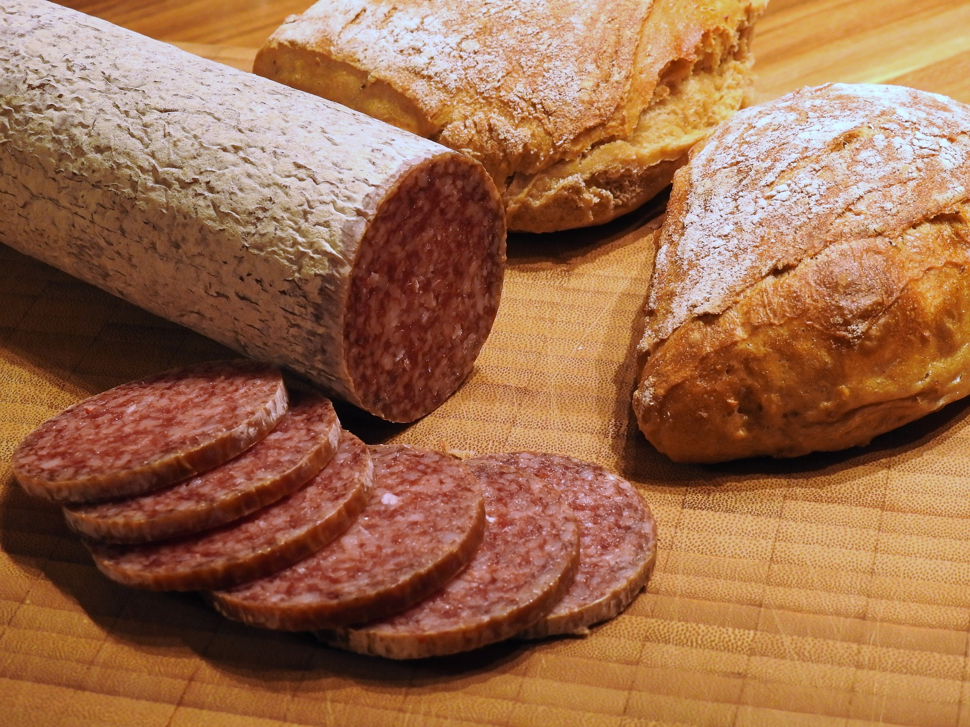 Salami bread sausage food