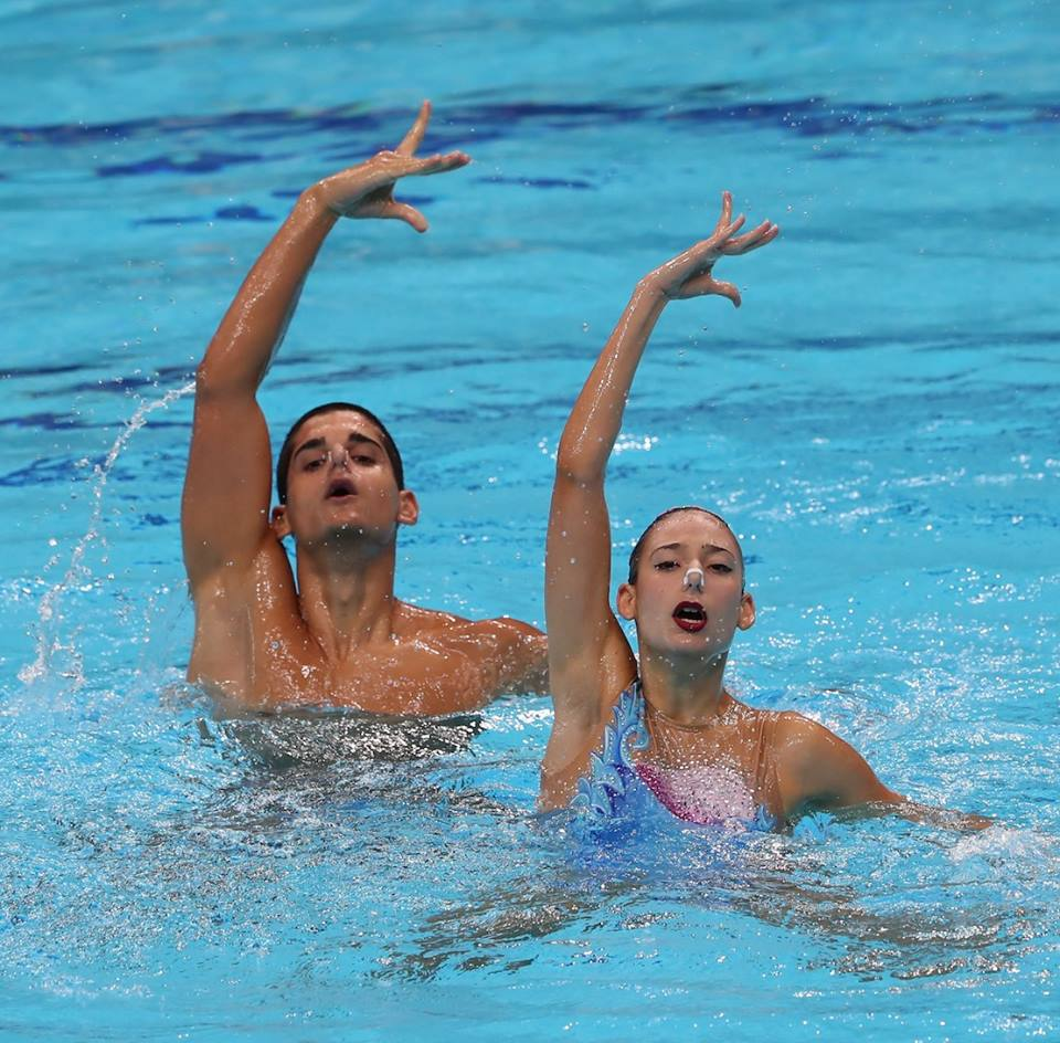 boy, girl, synchronised swimming