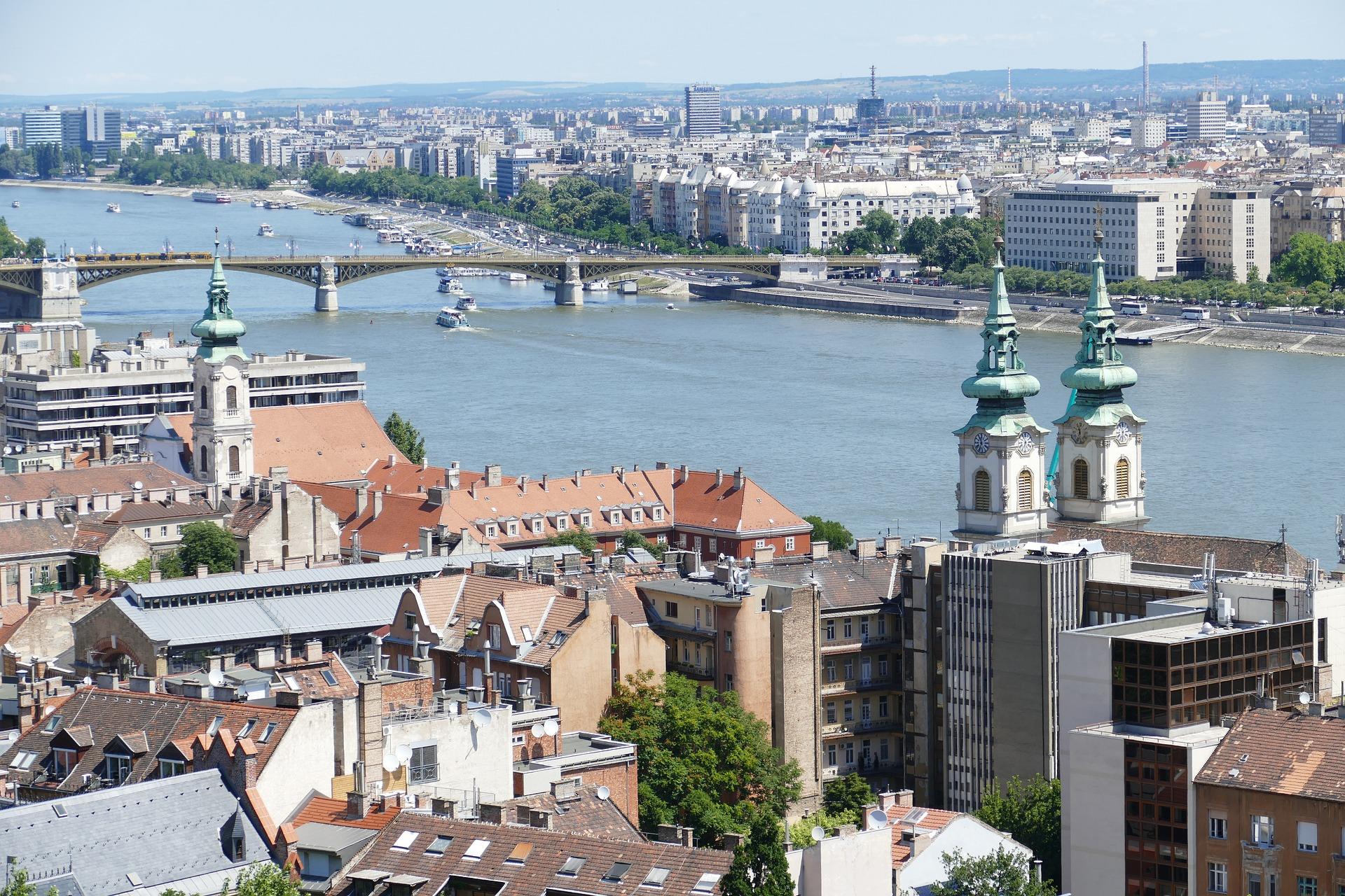 Budapest bridge and houses