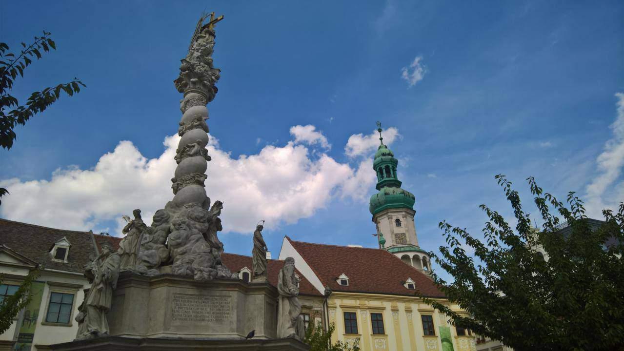Sopron Fő tér emlékmű Tűztorony