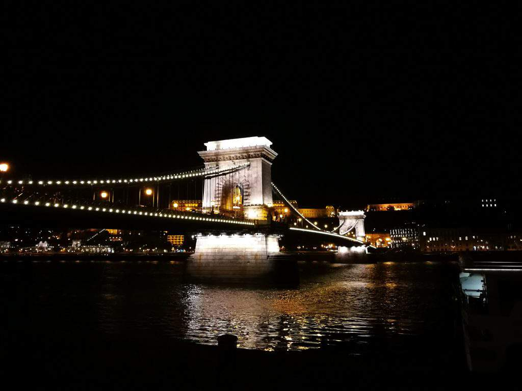 Chain, bridge, night, lights