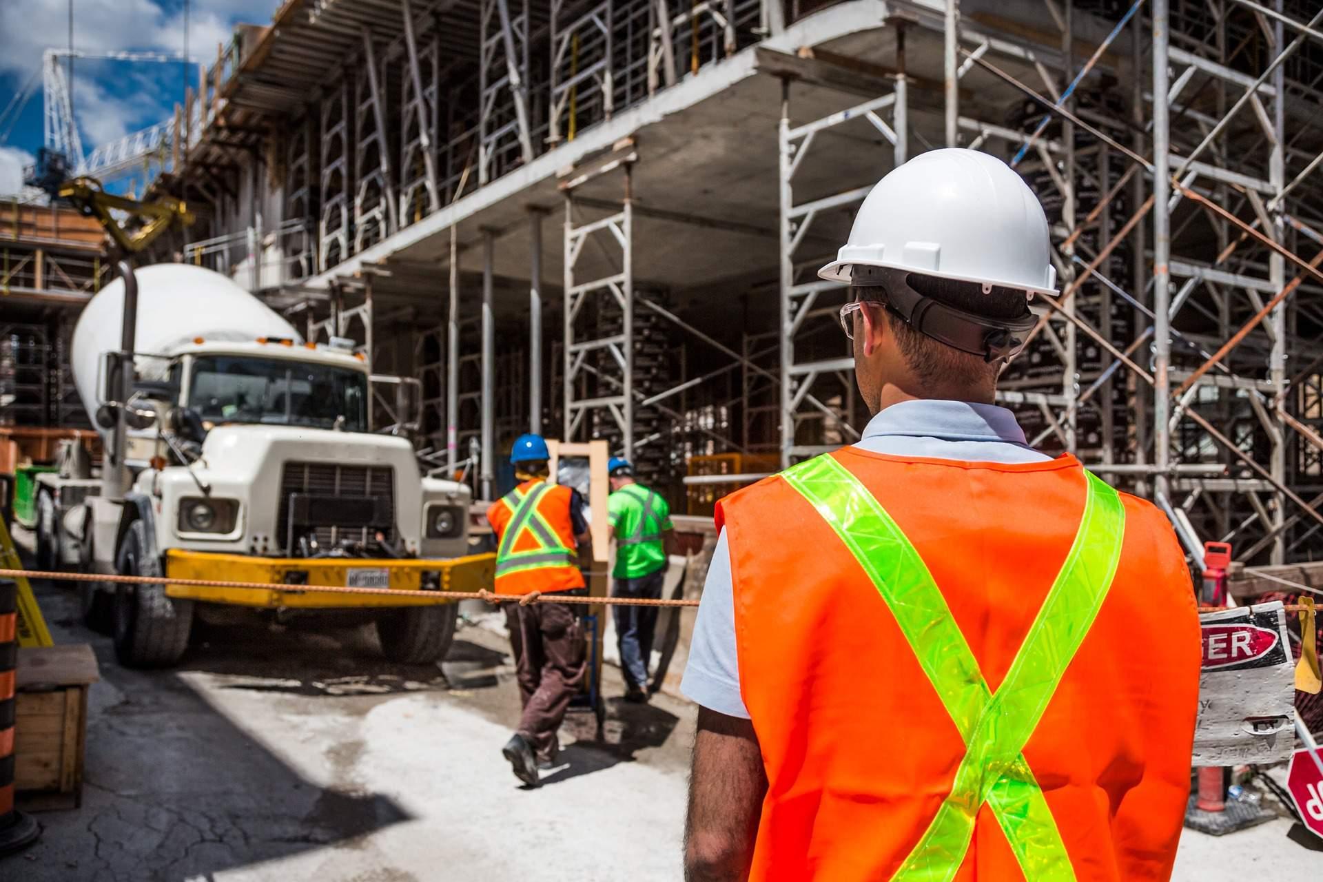 Construction Worker Truck Building