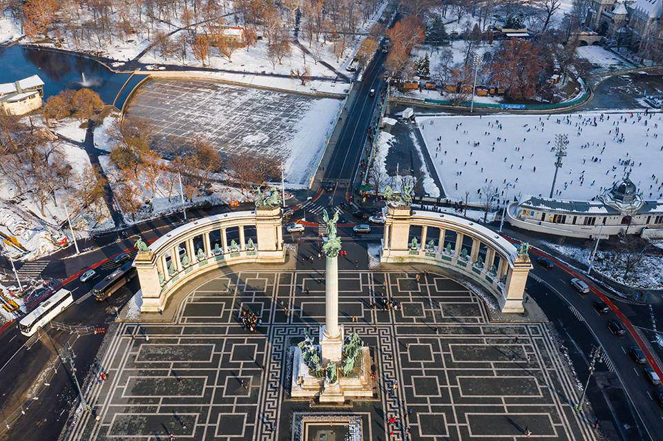 Winter Snow in Budapest
