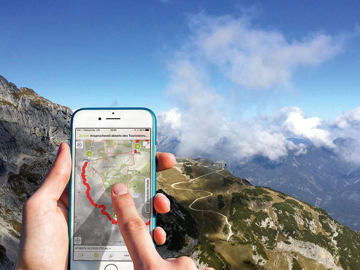 app, hiking, phone, nature