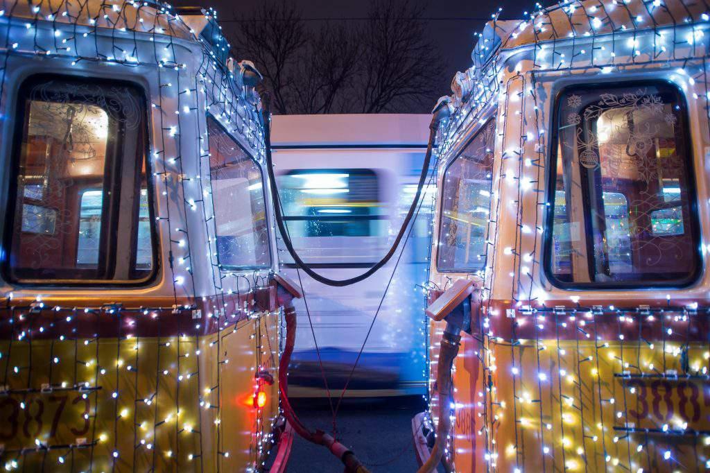 christmas, light tram, budapest