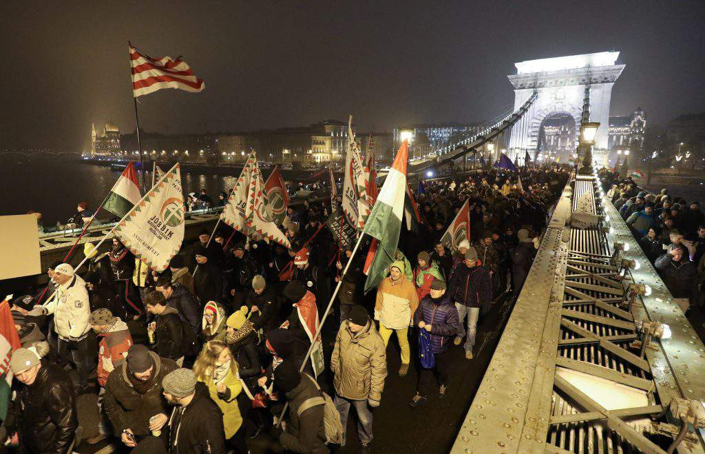 Anti-government demonstration staged at presidential palace in Budapest