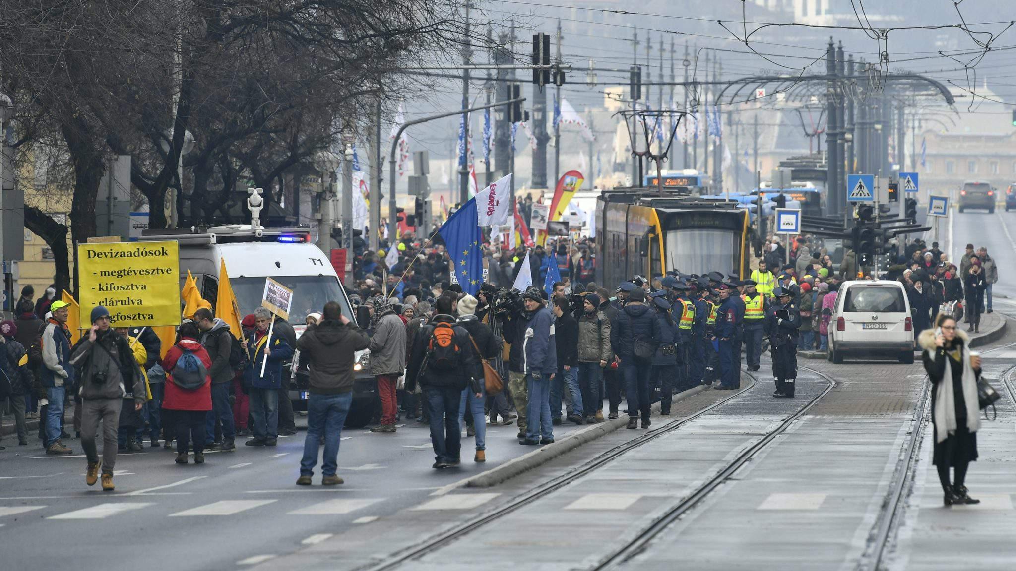 demonstration Budapest Hungary