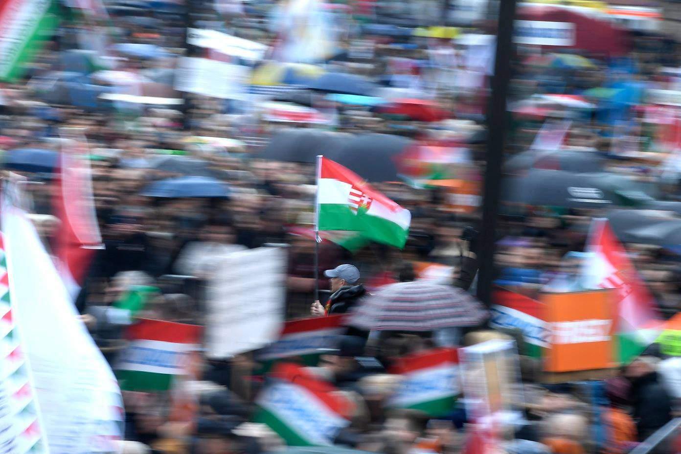 Hungary, flag, crowd