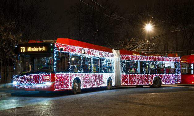Santa Claus's bus and trolley in Budapest will cheer you up